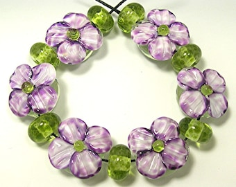 HANDMADE LAMPWORK Beads SET Sculpted Flowers Violet Purple Donna Millard spring summer garden