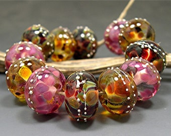 HANDMADE LAMPWORK Beads Set of 12 Donna Millard summer fall autumn pink rose gold Roza