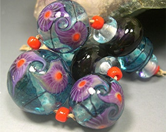 HANDMADE LAMPWORK  11 Glass Bead SET Donna Millard blue orange turquoise boho hippie hippi flower child