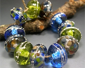 HANDMADE LAMPWORK GLASS Bead Set Donna Millard ocean sea water blue green earring pair
