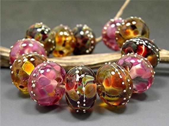 HANDMADE LAMPWORK Beads Set of 12 Donna Millard summer fall autumn pink rose gold Roza