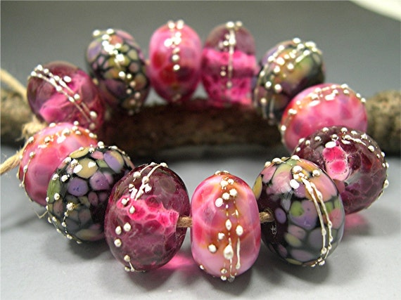 Fyrebeadz Lampwork CRANBERRY FROSTIES by Donna Millard Art Glass Beads