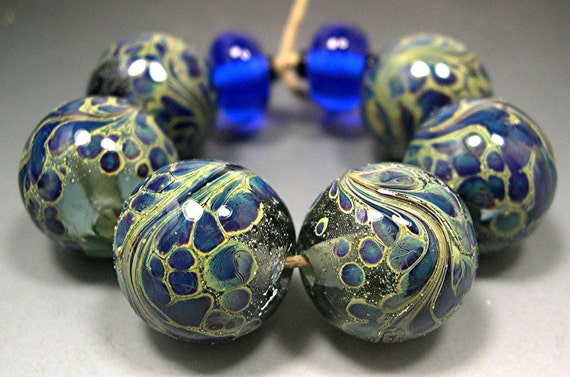 Handmade LAMPWORK Glass Bead Set DONNA MILLARD blue purple gold silver ice sra supplies