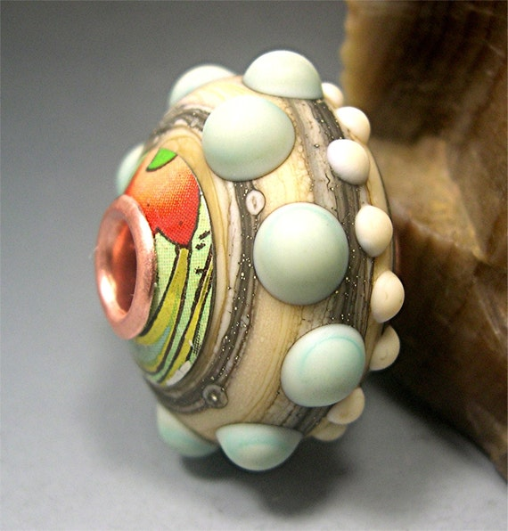 HANDMADE LAMPWORK Focal Glass Bead Organic Capped Cored Donna Millard sea urchin winter sea ocean