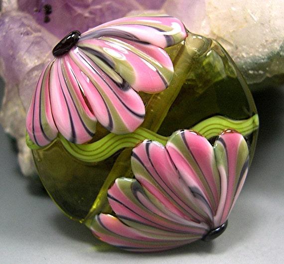HANDMADE LAMPWORK GLASS Bead Focal Donna Millard sra spring summer 2012 garden necklace pendant pink flowers jewelry floral flower