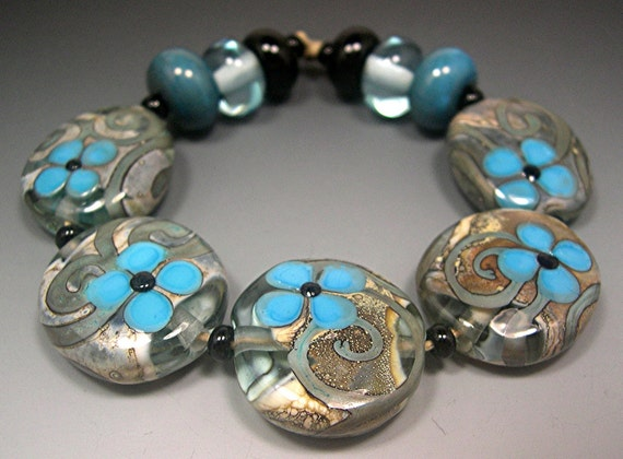 HANDMADE LAMPWORK Bead SET 11 Donna Millard turquoise teal blue flowers grey black spring summer 2012 boho gypsy hippie glass beads