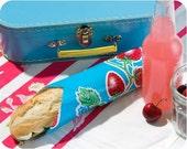 sandwich wrap & cloth napkin/liner - BLUE STRAWBERRIES - place mat - eco - reusable