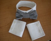 Pug or Small Dog Bowtie Collar and Cuffs