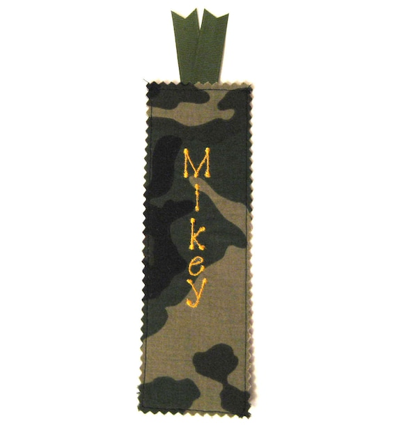 Personalized Fabric Bookmark - Camo Fabric for Boys