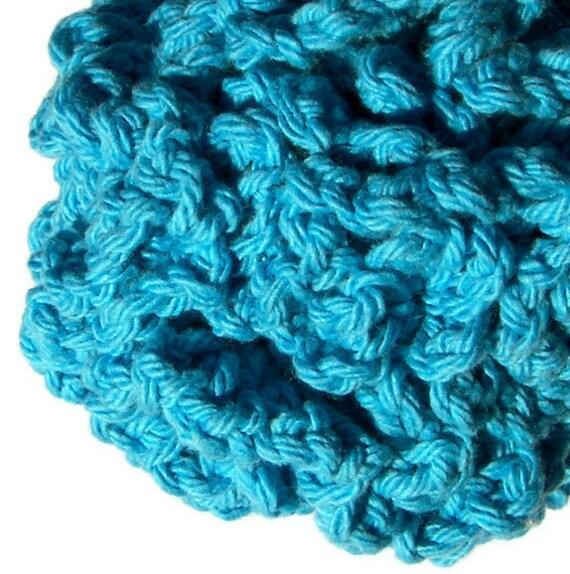 Cotton Shower Puff - Bright Blue