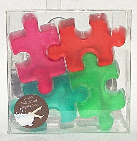 Support Autism Awareness Puzzle Soaps Fruit Scented Boxed Set