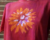 Maroon and Orange Batik Flower T shirt  XL