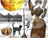 Victorian Halloween Collage Sheet Digital File Witch Decoration ART TEA LIFE paper doll clip art pumpkin moon black cat broom