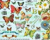 Butterfly Queens & Flowers Collage Sheet atc cards gift tag journal scrapbooking butterflies Digital File Clip ART TEA LIFE