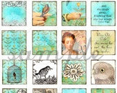 ART TEA LIFE Bird and Thistle One Inch Tile Collage Sheet Digital File 1x1 charms inchie jewelry supply scrabble  clip art  decoupage slides