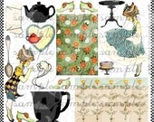 ART TEA LiFE Just A Minute Collage Sheet Digital File clip art card making atc aceo gift tags invitations