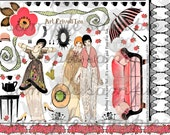 ART TEA LIFE Jane Austen Meets Art Deco Frivoli Tea Collage Sheet Digital File Clip Art, Scrapbook, Journal, Cards, etc.