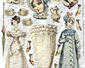 Jane's Paper Dolls Digital Collage Sheet Journal Page Scrapbooking ART TEA LIFE altered doll parts clip art austen fashion pemberley