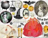 ART TEA LIFE Halloween Marie Antoinette Collage Sheet paper doll parts scrapbook journal witch  pumpkin clip art digital file