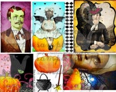 ART TEA LIFE Halloween Treats Collage Sheet Digital File Clip Art Scrapbook Journal cards tags altered art vintage photo printable download