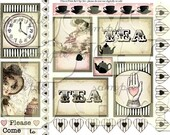 ART TEA LIFE Tea Cards Collage Sheet Journal Page Scrapbook gift tag atc aceo sized cards clip art Digital File jane austen