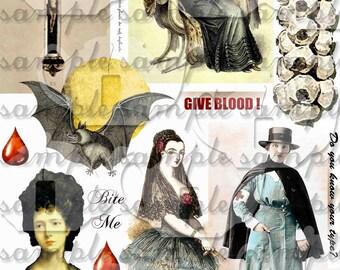 Revamped Vampire Collage Sheet Halloween True Blood Gothic Scrapbook Journal Page Clip Art digital file