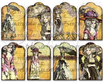 ART TEA LIFE Marie 8 Gift Tags for Bags Collage Sheet Digital File Scrapbook Invitation Party Favor clip art card journal antoinette