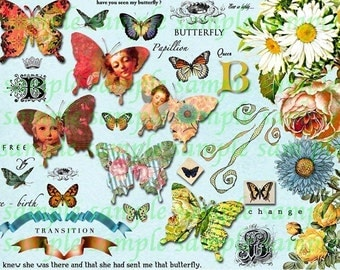 Butterfly Queens & Flowers Collage Sheet atc cards gift tag journal scrapbooking butterflies Digital File Clip ART TEA LIFE