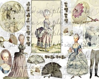 ART TEA LiFE Big Fan Marie Antoinette Collage Sheet digital file print and clip art paper doll journal decoupage