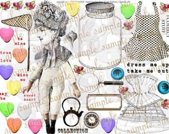 ART TEA LIFE Collector Digital File clip art card gift tag invitation steampunk valentine journal decoupage scrapbook altered art paper doll
