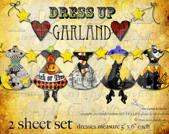 Digital Collage Sheet Halloween Dress Up Banner Scrapbook Journal Party Decoration Office streamer garland black cat moon