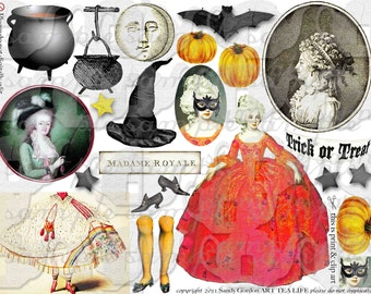 ART TEA LIFE Halloween Marie Antoinette Collage Sheet paper doll parts scrapbook journal witch  pumpkin clip art digital file