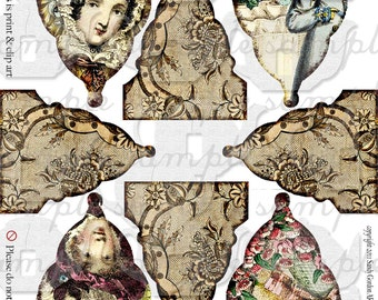 ART TEA LIFE Tea With Jane Austen banner collage sheet scrapbook journal streamer party desk office decoration digital file clip art flags