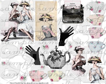 ART TEA LIFE Tea Vogue Collage Sheet Digital File clip art gift tags decoupage ornament card wrap vintage fashion invitation