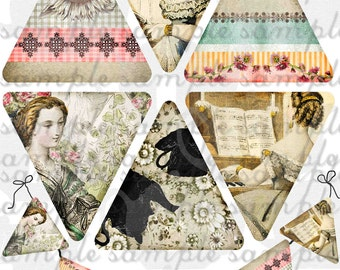 ART TEA LIFE Jane Austen Days banner collage sheet scrapbook journal streamer party desk office decoration digital file clip art flags