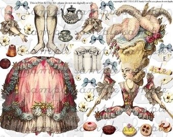 ART TEA LiFE Marie Antoinette Paper Doll Collage Sheet digital file decoupage paper doll clip art  journal scrapbook french queen baroque