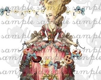 ART TEA LiFE Marie Antoinette Paper Doll Collage Sheet digital file decoupage paper doll clip art  journal scrapbook french queen baroque