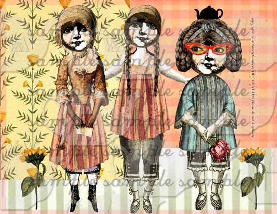 ART TEA LIFE Hello Dolly Collage Sheet Paper Doll Parts digital file altered art scrapbook journal page decoupage clip art