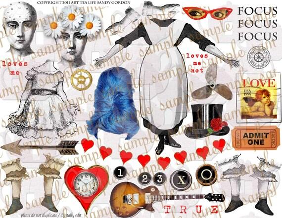 ART TEA LIFE Collage Sheet Digital File True Love clip art card atc tag invitations steampunk journal decoupage scrapbook altered art doll