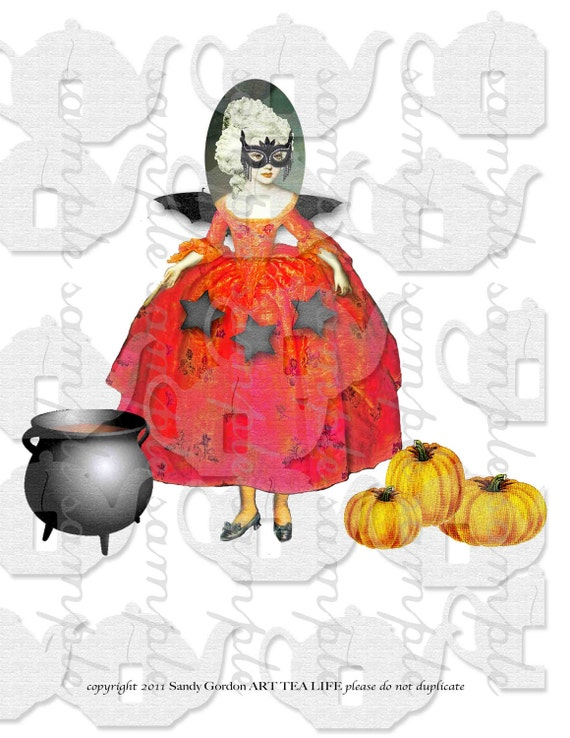 Halloween Witches Collage Sheet paper doll parts scrapbook journal witch pumpkin ART TEA LIFE clip art digital file baroque french fashion
