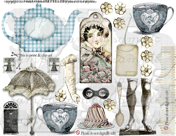 ART TEA LiFE Accoutrements Collage Sheet Digital File Clip Art gift tags invitation scrapbook journal Jane Austen teapot