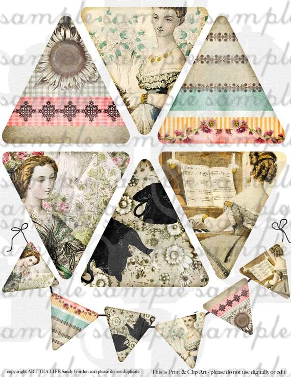 ART TEA LIFE Jane Austen Days banner collage sheet scrapbook journal streamer party desk office decoration digital file clip art flags