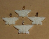 Carved Mother of Pearl Butterfly Pendants or Charms   Free Shipping