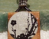 Wooden Pendant Decorated With Cherry Blossoms  Free Shipping