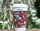 FREE SHIPPING UPGRADE with minimum -  Fabric coffee cozy / cup holder / coffee sleeve  / tea sleeve -- Sock the Monkey -- fabric and fleece