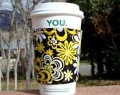 Coffee cozy / cup holder / coffee sleeve / fabric coffee cozy / tea sleeve -- Sunshine Flowers -- Black and Yellow