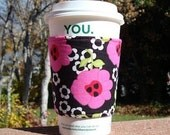 Fabric coffee cozy / cup holder / coffee sleeve / coffee cozy / tea sleeve -- bold fuchsia flowers on black