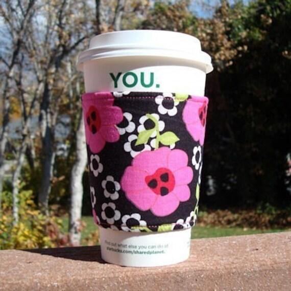 Fabric coffee cozy / cup holder / coffee sleeve / coffee cozy / tea sleeve -- bold fuchsia flowers on black