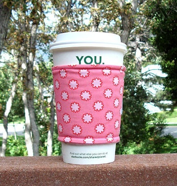 Fabric coffee cozy / cup holder / coffee sleeve  / tea sleeve -- Clover Dot Pink -- Mezzanine by Patty Young