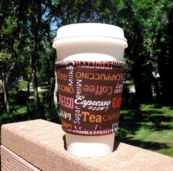 FREE SHIPPING UPGRADE with minimum -  Fabric coffee cozy / cup holder / coffee sleeve / coffee sleeve -- Coffee Macchiato Latte